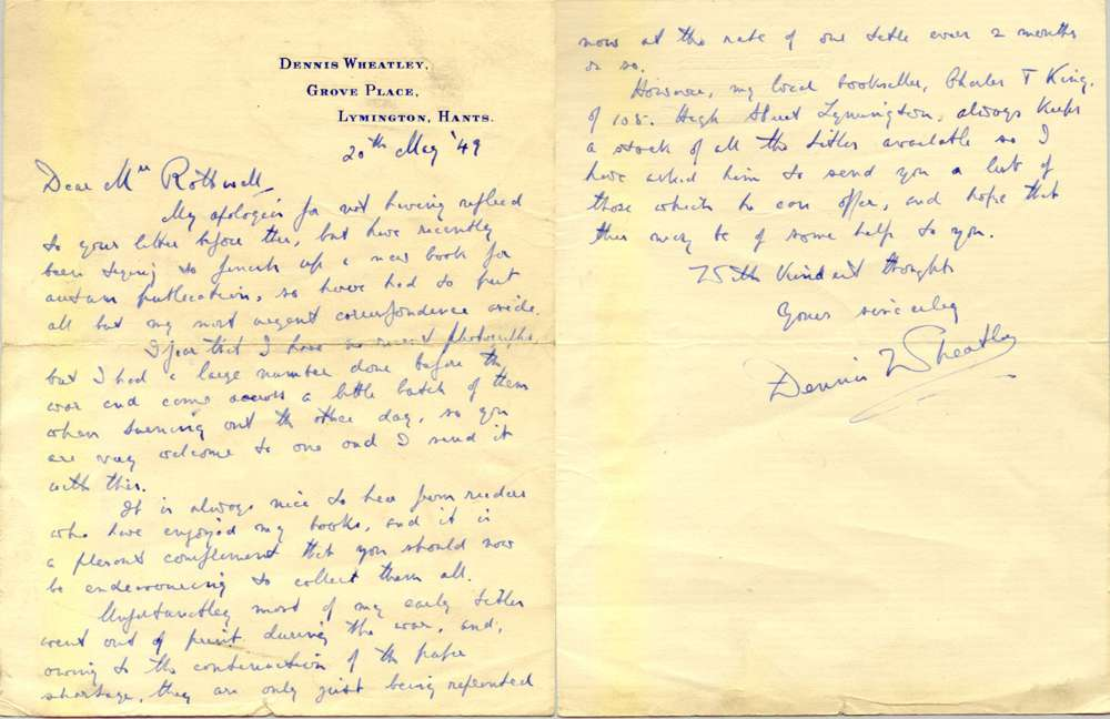 a letter from DW to my mother dated 20th May 1949. He apologises for the delay in replying to her letter as he has been trying to finish a new book for publication in the autumn. (This would in all probability have been 'The Rising Storm')